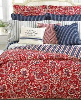 Villa Martine Floral Red Blue Full Queen Duvet Comforter Cover