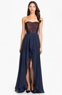 Nicole Miller Strapless Jacquard Bodice High/Low Silk Gown
