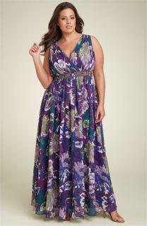 JS Boutique Floral Chiffon Maxi Dress (Plus)