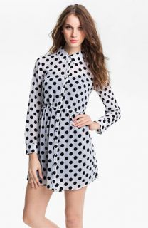 Kensie Polka Dot Chiffon Shirtdress (Online Exclusive)