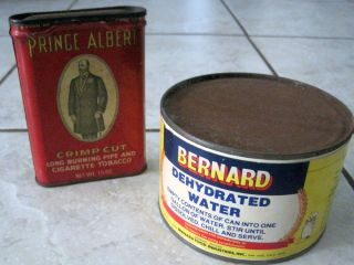 LOT OF 2 VINTAGE COLLECTIBLE CANS PRINCE ALBERT TOBACCO BERNARD