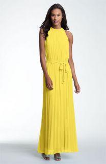 Donna Morgan Pleated Halter Chiffon Maxi Dress