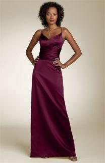 Nicole Miller Shirred Satin Column Dress