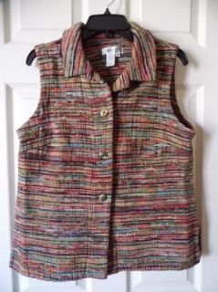 Womens Coldwater Creek Woven Vest Sz M Fall Colors Cotton Poly Rayon