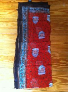 Womens ATG Rayon Santa Holiday Christmas Scarf Made in India New Wtag
