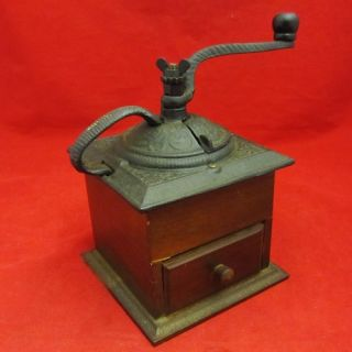 vintage decorative hand crank table top coffee grinder mill cast iron