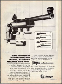 SAVAGE ANSCHUTZ Match RIFLE Print AD Collectible Firearms Advertising