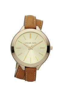 Michael Kors Double Wrap Leather Strap Watch