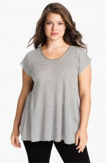 Eileen Fisher Stripe Linen Short Sleeve Top (Plus)