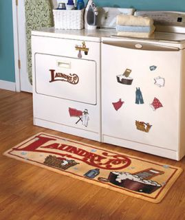 Laundry Room Rug Washer Dryer Magnets Combo Country Rustic Style New