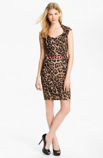 Ellen Tracy Belted Animal Print Sheath Dress