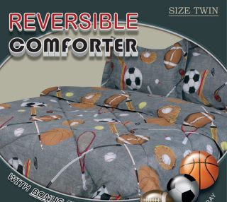 Twin Microfiber Kids Sports Gray Bedding Comforter Set