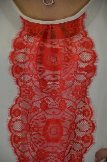 Collective Concepts High Low Chiffon Ivory Blouse Red Lace Front w