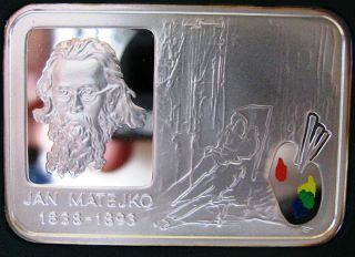 silver coin Poland 20 Zlotych 2002 Jan Matejko beautiful high catalog