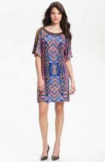 Donna Morgan Becca Embellished Print Shift Dress