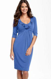 Donna Ricco Ruffle Matte Jersey Dress