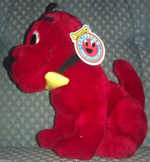 Clifford The Big Red Dog 9 Nanco Sitting w Bone Plush Toy Animal 2001