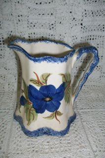 Vintage Clinchfield Cash Family Artware Pottery Flow Blue Pitcher