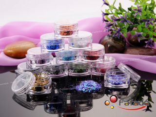 12 Colored Nail Art Glitter Acrylic Powder for Nail Tip