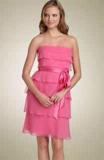 Kay Unger Strapless Tiered Chiffon Dress