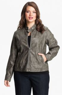 Mynt 1792 Upper East Faux Leather Bomber Jacket (Plus)