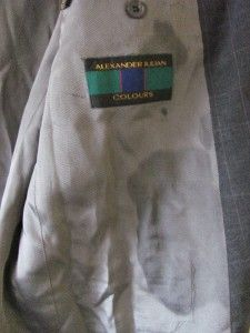 Alexander Julian Colours Grey Checkered Blazer Sport Coat Size 42 Long