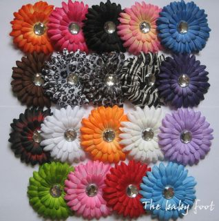 Lot of 10 gerber daisy flower clips baby girl hair bow for headband
