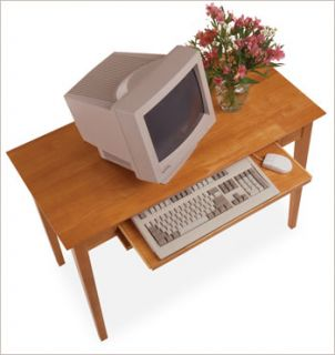 Solid Wood Writing Computer Desk Table w Keyboard Tray