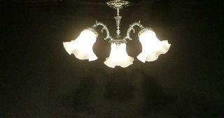 /Vintage Three Light Silver Finish Flush Mount Ceiling Light Fixture