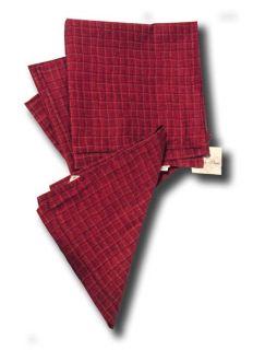 Donna Sharp 71019 Red Plaid Table Washable Cloth Napkins 20 x 20 NEW