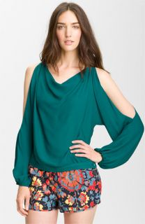 Haute Hippie Cutout Sleeve Silk Blouse