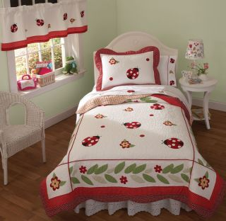 Yard Red Ladybug Twin Quilt Set Girls Teen Bedding New