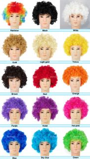 Afro Funny Party Clown Costume 70s Disco Wigs 15 Colours