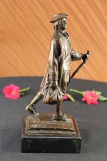 Young Benjamin Franklin Bronze Sculpture Statue Figure