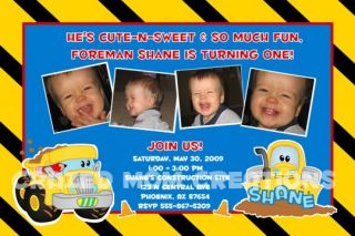 Custom First 1st Birthday Boy Party Photo Invitations