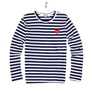 Comme des Garcons Play CDG Red Heart Long Sleeve Stripes T shirt Size