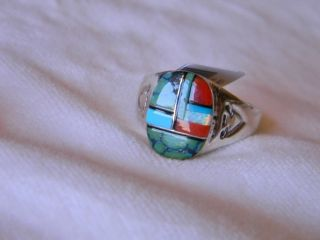 sterling silver mens signed Navajo ring multi stone inlay size 11 or