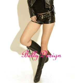 Sexy Hot Black Low Waist Leather Rock Shorts Club Pants