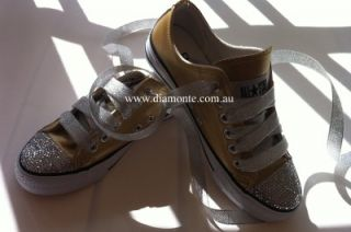 Gold Convers Featuring Clear Swarovski Cystals for Toddler Kids Women