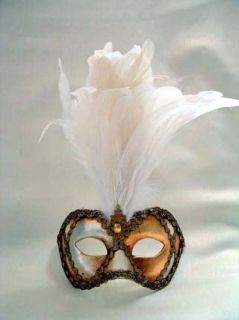 si lucia columbina metallic white feathers mask size 14l x 7w x 4h