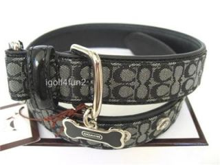 Coach Black White Mini Signature Leather Dog Collar with Bone Charm L