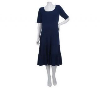 George Simonton Short Sleeve Tiered Dress with Seam Detail —