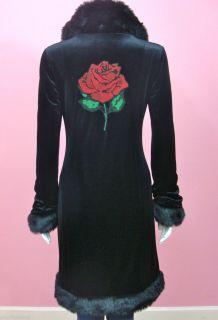 Betsey Johnson Tattoo Rose Coat Faux Fur Black Velvet Jacket