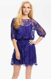 Nicole Miller Lace Overlay Blouson Dress
