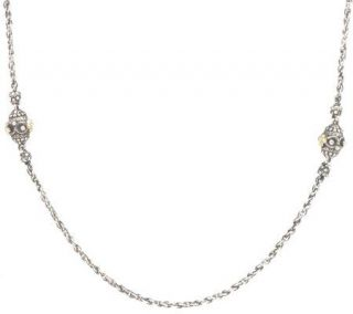 Barbara Bixby Sterling/18K Bead Station 18 Chain Necklace —