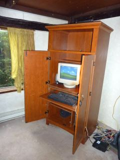 Computer Armoire desk wood Sauder pull out shelves Home office pick up