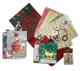 65 Piece Gift Wrap, Bag and Ribbon Set with Tri Fold Organizer