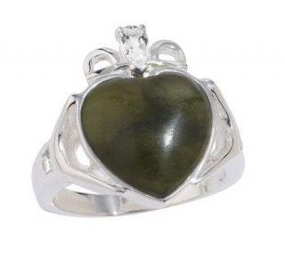 Connemara Marble White Topaz or Peridot Claddagh Ring —