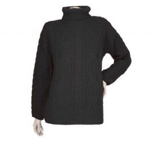 Aran Craft Merino Wool Long Sleeve Turtleneck Sweater —