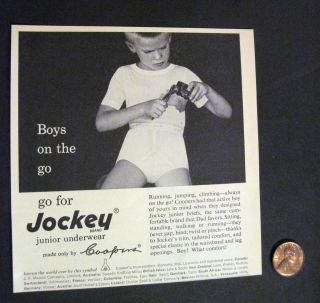 image of young boy in Junior Underwear by Jockey 1956 Coopers Print Ad